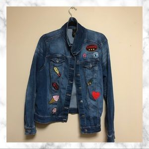 Plus Size Jean Jacket with Patches